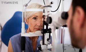 a woman getting an eye exam