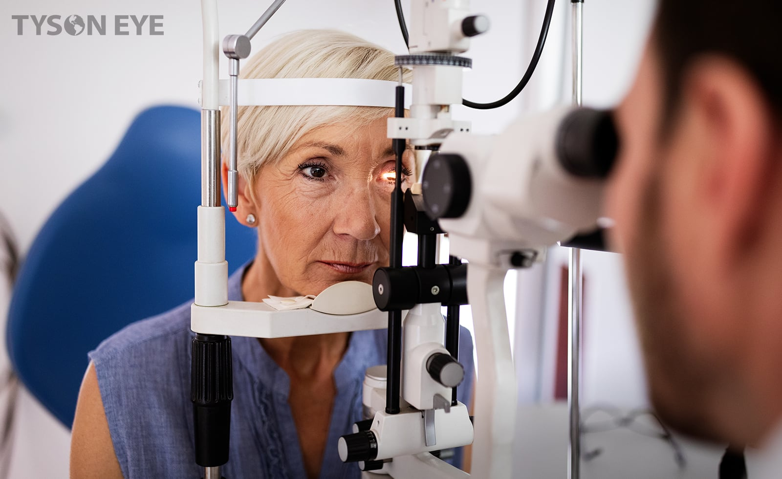 a woman getting an eye exam