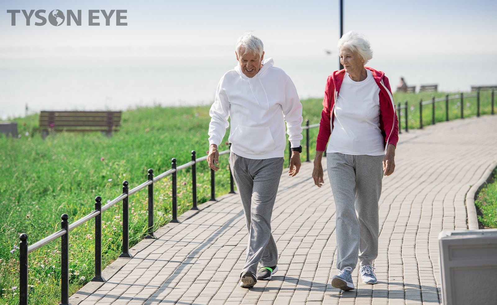 An active older couple walking outdoors